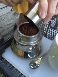 coffee into pot